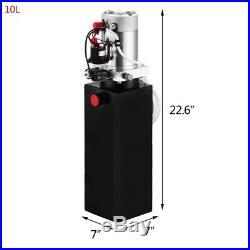 10 Quart Double Acting Hydraulic Pump 12VDC Dump Trailer Power Pack Steel