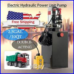10 Quart Double Acting Hydraulic Pump Dump Trailer Power Unit Dump Truck DC 12V