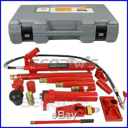 10 Ton Capacity Porta Power Hydraulic Jack Ram Pump Body Frame Repair Tool Kit