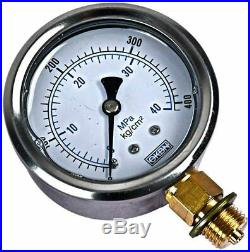 12V 3 Quart Double Acting Hydraulic Pump Power with Hydraulic Pressure Gauge
