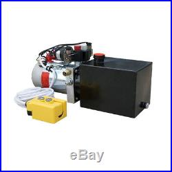 12V 3 Quart Tank Double-Acting Hydraulic Pump Power Pack Dump Trailer Unloading