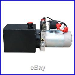 12V 3 Quart Tank Double-Acting Hydraulic Pump Power Supply Dump Trailer Crane