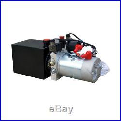 12V 4 Quart Double-Acting Hydraulic Pump Power Supply Dump Trailer Unloading