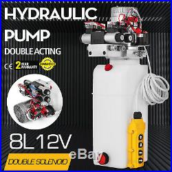 12V DC Double Acting Double Solenoid Hydraulic Power Pack 8L Tank ZZ004235