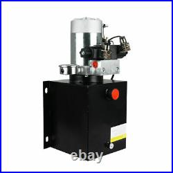 12V Hydraulic Power Unit Double Acting with Pressure Gauge Hydraulic Pump 10 Quart