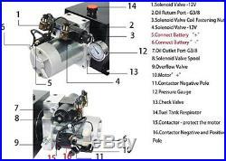 12 Quart Double Acting Hydraulic Power Unit 3200 PSI Max. Hydraulic Pump DC12V