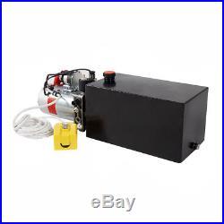 12 Volt 10 Quart Hydraulic Pump Power Pack Dump Trailer Car Lift Metal Reservoir