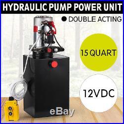 15 Quart Double Acting Hydraulic Pump Dump Trailer 12v Unit Pack Power Unit