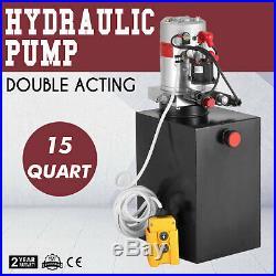 15 Quart Double Acting Hydraulic Pump Dump Trailer Power Unit Control Kit Crane
