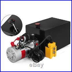 15 Quart Single Acting Hydraulic Pump Dump Trailer Power Unit 12V Lifting