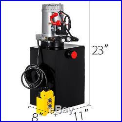 20 Quart Double Acting Hydraulic Pump Dump Trailer Power Unit Pack Iron
