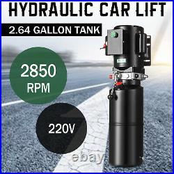 220V Hydraulic Car Lift Power Unit Auto Pump Vehicle Hoist 10L Single Acting