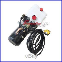 3 Quart Double Acting Hydraulic Pump Dump Trailer Repair Power Unit 12V