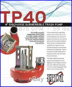4 Discharge Hydraulically Powered Submersible Trash Pump (316 Stainless Steel)