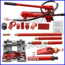 4 Ton Porta Power Hydraulic Jack Air Pump Lift Ram Body Frame Repair Tool Kit