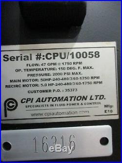 50-HP CPI AUTOMATION Hydraulic Power Unit AM16316