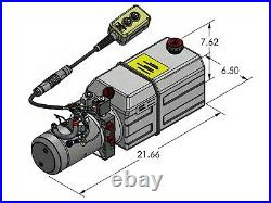 6QT Dump Trailer Double Acting power Unit 2500psi 12 volt DC HYDRAULIC