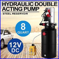 8 Quart Double Acting Hydraulic Pump Dump Trailer Power Unit Crane Lift