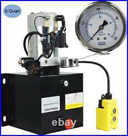 8 Quart Single Acting Hydraulic Power Pump Unit 12V with Hydraulic Pressure Gauge