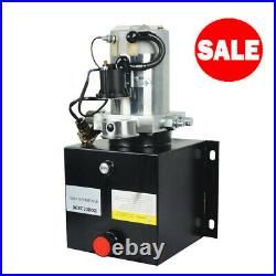 DC12V 8-Quart Double-Acting Hydraulic Pump Power Dump Trailer with Pressure Gauge