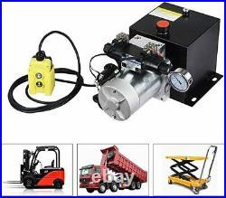 DC12V 8-Quart Double-Acting Hydraulic Pump Power Unit Dump Trailer 3200 PSI Max