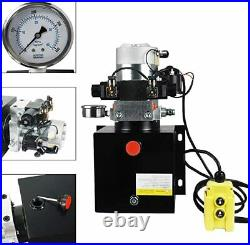 DC12V 8-Quart High Flow Double-Acting Hydraulic Pump Power Unit withPressure Gauge
