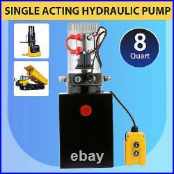 DC12V 8-Quart High Flow Single-Acting Hydraulic Pump Power Unit Dump Trailer