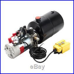 DC12V Volt 6 Quart Single Acting Hydraulic Pump Power Unit Dump Trailer
