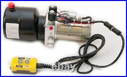 Double Acting 12V DC Hydraulic Power Unit Pack, 3.5 qt Tank, Ideal for Dump Trai