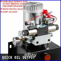 Hydraulic Power Unit Double Acting with Pressure Gauge Hydraulic Pump 12 Quart