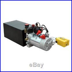 Hydraulic Power Unit Pump 10-Quart Metal Reservoir 12 Volt Power Trailer