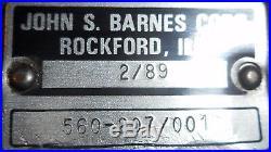 John S Barnes, Jsb 24 Volt Pump, Hydraulic Power Unit, 560-207/001