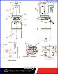 Maxim Ac Auto Hoist Power Unit, Sae 6 Ports, 2500 Psi, 3 Gallon Steel Tank