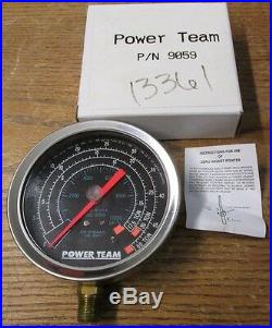 NEW NOS Power Team SPX 9059 Hydraulic Pressure Gauge