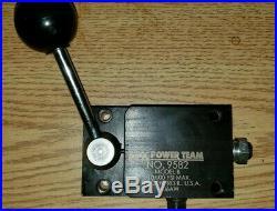SPX Power Team 9582 MODEL B Hydraulic MANUAL VALVE 3-way, 2-position 10000 PSI