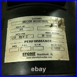 Stone SPX Hydraulic AC Power Unit 12VDC Solenoid Relief 1200 PSI, 100-115VAC