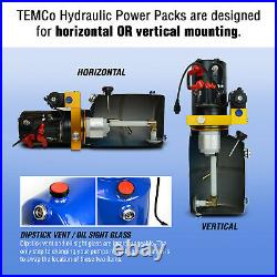 TEMCo 12V DC Hydraulic Power Unit Dump Trailer Pump 8 Qt PU / PD (Double Acting)